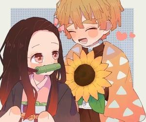 anime girl, chibi, and couple image