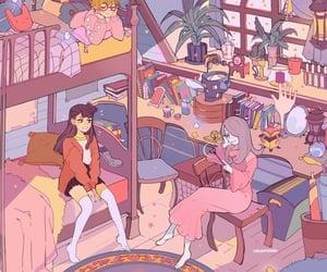art, illustration, and room image
