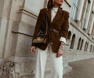 brown, oversized blazer, and casual image