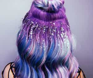 purple hair, festival hair, and glitter hair image