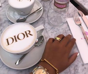 coffee, dior, and jewelry image