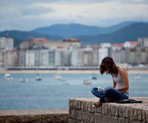 alone, girl, and read image
