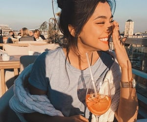 girl, smile, and drink image