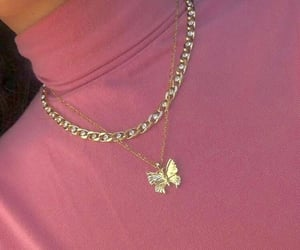 butterfly, necklace, and pink image