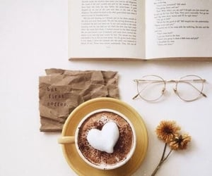 coffee, book, and heart image