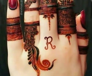hand, henna, and Letter R image