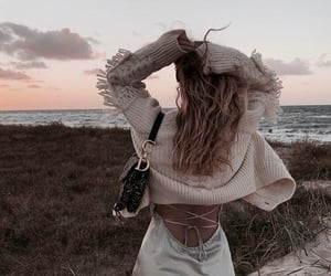 beach, outfit, and sea image