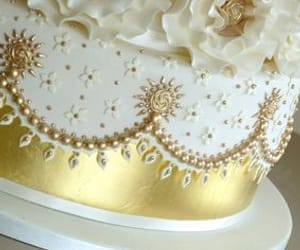 cake, gold, and sweets image