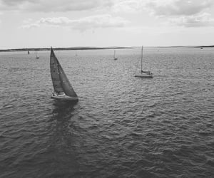 black and white, boat, and uk image