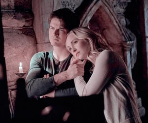 caroline forbes, the vampire diaries, and damon salvatore image
