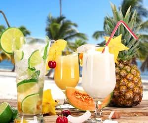beach, cantaloupe, and drinks image