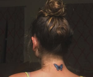 blue, butterfly, and tattoo image