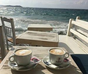 coffee, beach, and ocean image