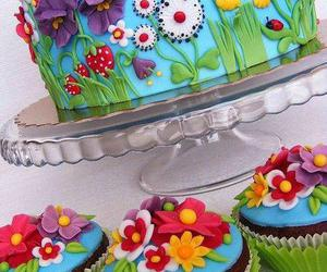 cake, cupcake, and flowers image