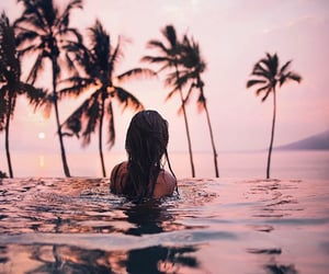 girl, summer, and palms image