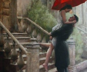 art, couple, and rain image