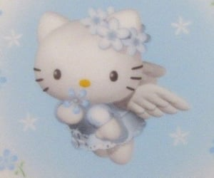 hello kitty, blue, and aesthetic image