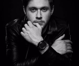niall horan, black and white, and one direction image