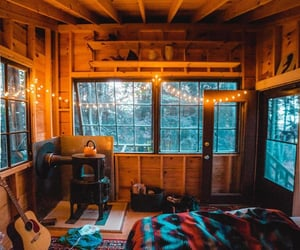 bedroom, cabin, and lights image