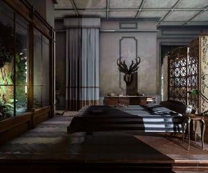 bed, terrarium, and bedroom image