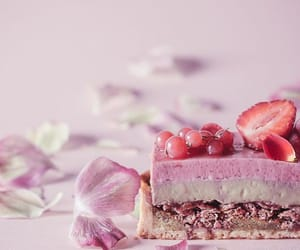pink, strawberries, and cake image