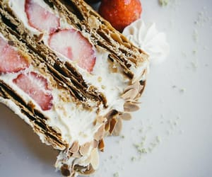 cream, red, and strawberries image