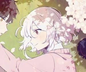 anime girl, couple, and flower image