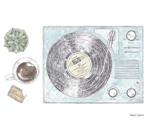 coffee, record player, and drawing image