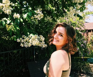 curly hair, floral, and green image