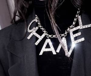 black, chanel. necklace, and bling image