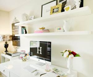 white, room, and office image
