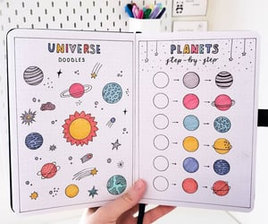 art, bullet journal, and planets image