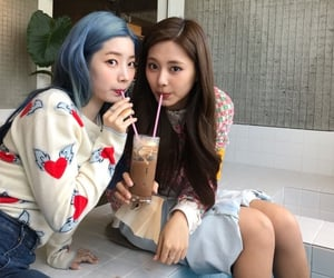 blue hair, coffee, and girls image