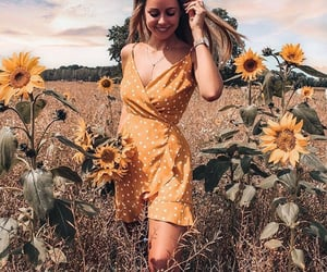 sunflower, fashion, and girl image