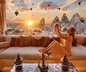 balloons, cappadocia, and sunset image