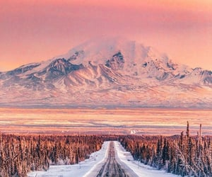 nature, snow, and sunset image
