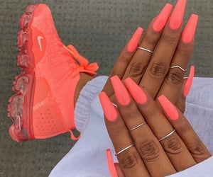 nails, coral, and nike image