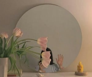 girl, mirror, and tulips image