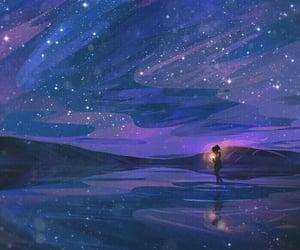 art, stars, and sky image