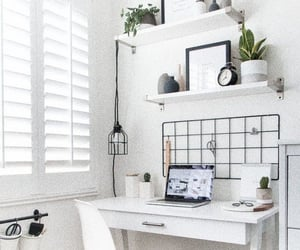 bedroom, desk, and home image