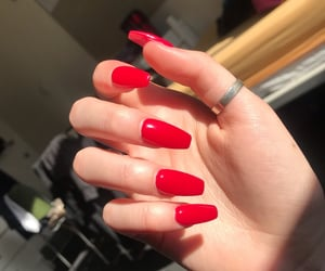 nail art, nails, and red image