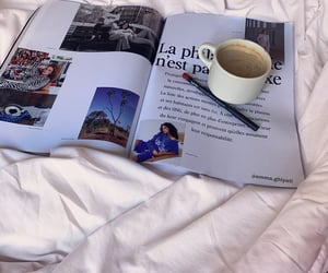 bed, magazine, and breakfast image