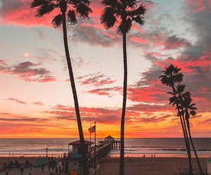 beach, sunset, and cali image