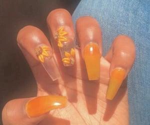 nails, acrylic, and orange image