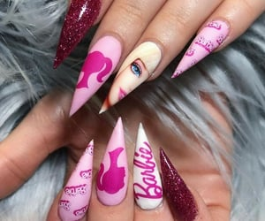 barbie, nails, and uñas decoradas image