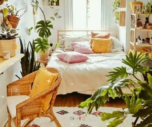 bed, cozy, and plant image
