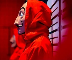 mask, red, and money heist image