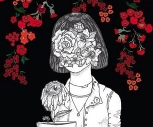 flowers, girl, and black image