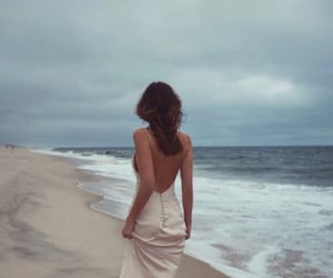 beach, hairstyle, and wind image