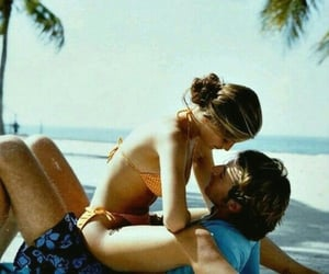 beach, couple, and palm image